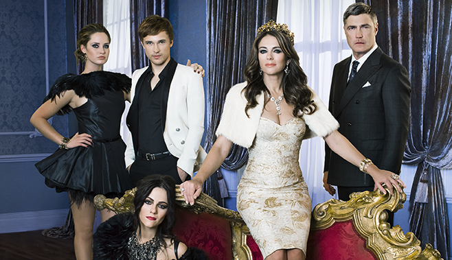 THE ROYALS -- Season 1 -- Pictured (l-r): Merritt Patterson as Ophelia, William Moseley as Prince Liam, Elizabeth Hurley as Queen Helena, Vincent Regan as King Simon, Alexandra Park as Princess Eleanor -- (Photo by Frank W. Ockenfels 3/E!)